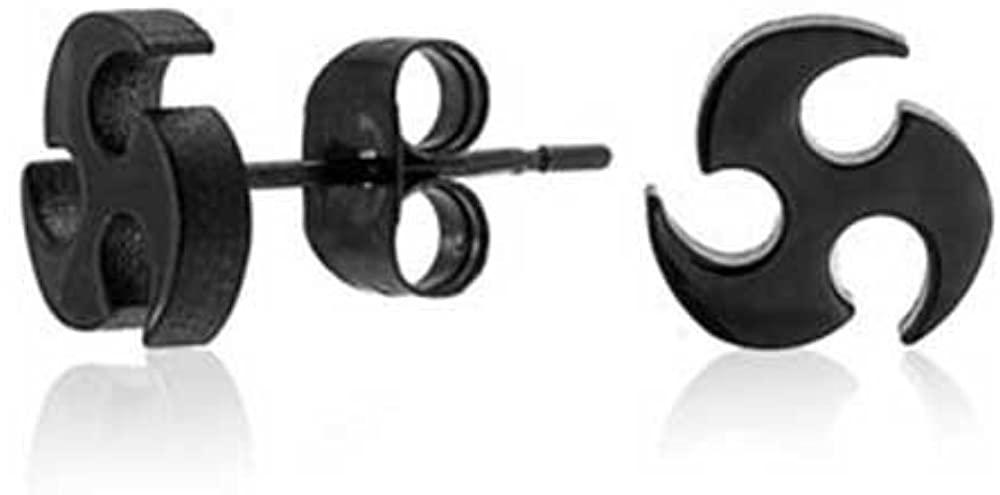 Tiny Tribal Blade Ninja Star Tragus Helix Nose Lobe Cartilage Piercing Stud Earrings For Women Men Black Stainless Steel