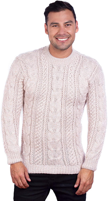 Intialpaca Hand Knit Warm Beige Melange Aran Alpaca Sweater for Men