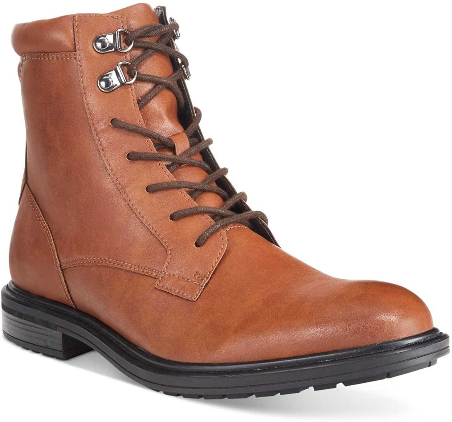 Alfani Mens Meltan Plain-Toe Brown Tan Boots with Zipper