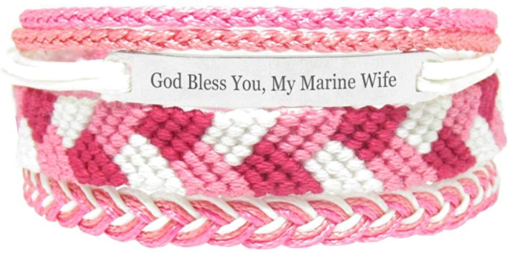 Miiras Family Engraved Handmade Bracelet - God Bless You, My Marine Wife - Pink - Made of Embroidery Thread and Stainless Steel - Gift for Marine Wife