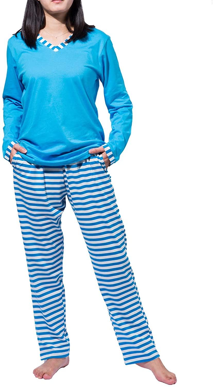Women's Pajamas Set Sleepwear Striped Pattern Bottom Nightwear Soft Pj Lounge Sets