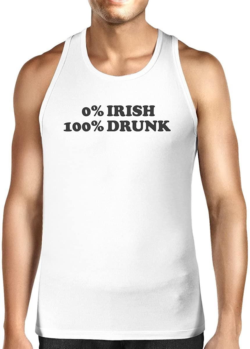 365 Printing 0% Irish 100% Drunk White Sleeveless Tanks for Men Humorous Design