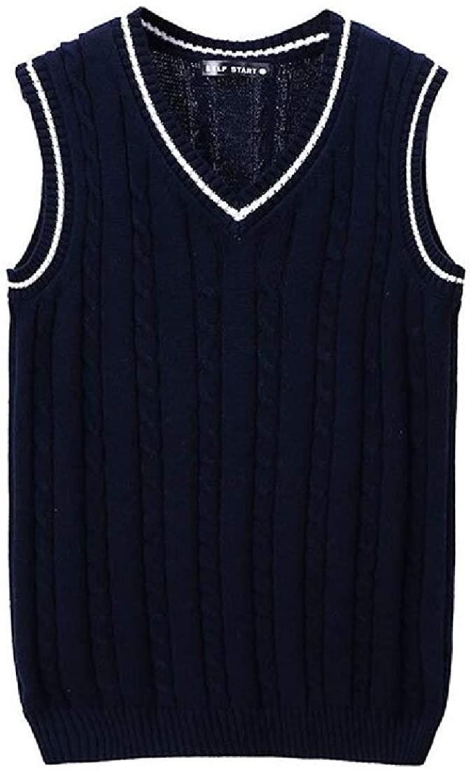 KLJR Men Knitted Slim Fit V-Neck Sleeveless Contrast Cotton Sweater Waistcoat Vest