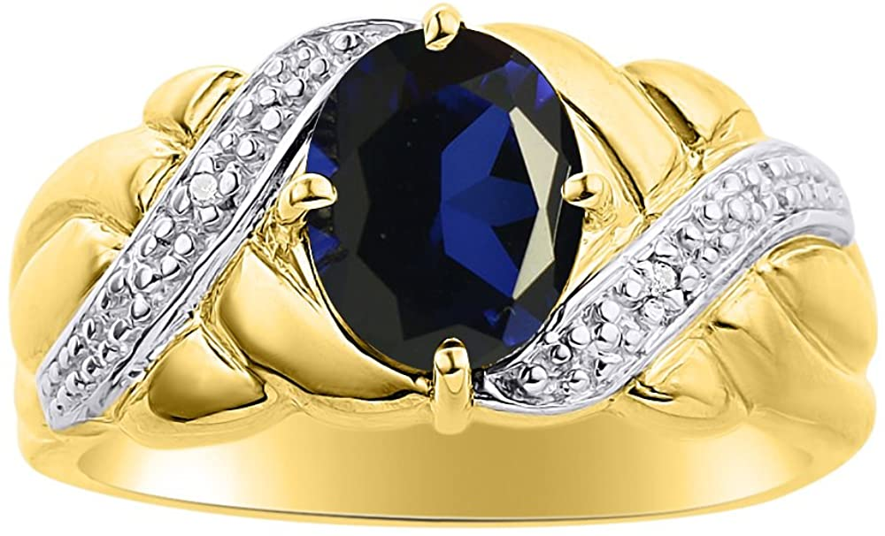 Diamond & Sapphire Ring Set In 14K Yellow Gold - Color Stone Birthstone Ring
