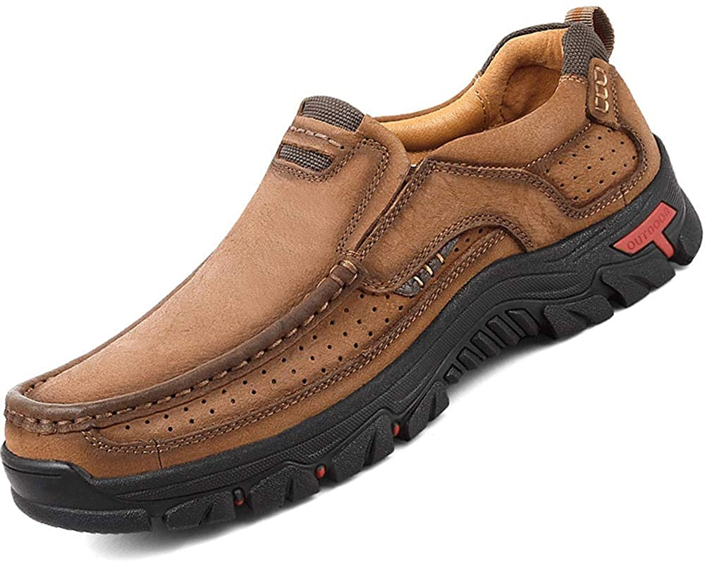 JEBU Mens Classic Outdoor Leather Non-Slip Lightweight Breathable Loafers Shoes Hiking Casual Shoes