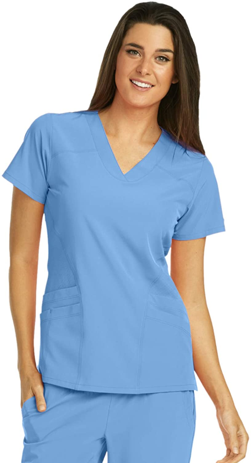 BARCO One 5106 Women's V-Neck Scrub Top Ciel Blue 4XL