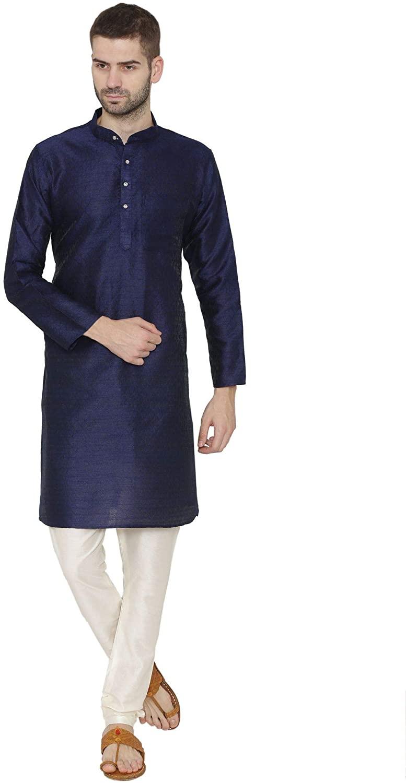 WINTAGE Men's Banarsi Art Silk Tailored Fit Festive and Casual Kurta Chudidar Pajama Pyjama - 6 Colors