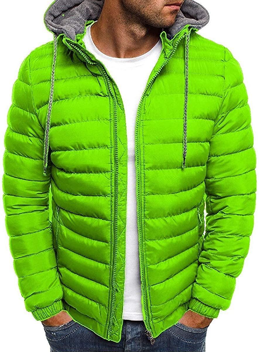 Wndxfhdscd Mens Casual Hooded Zipper Padded Puffer Lightweight Outwear Jacket