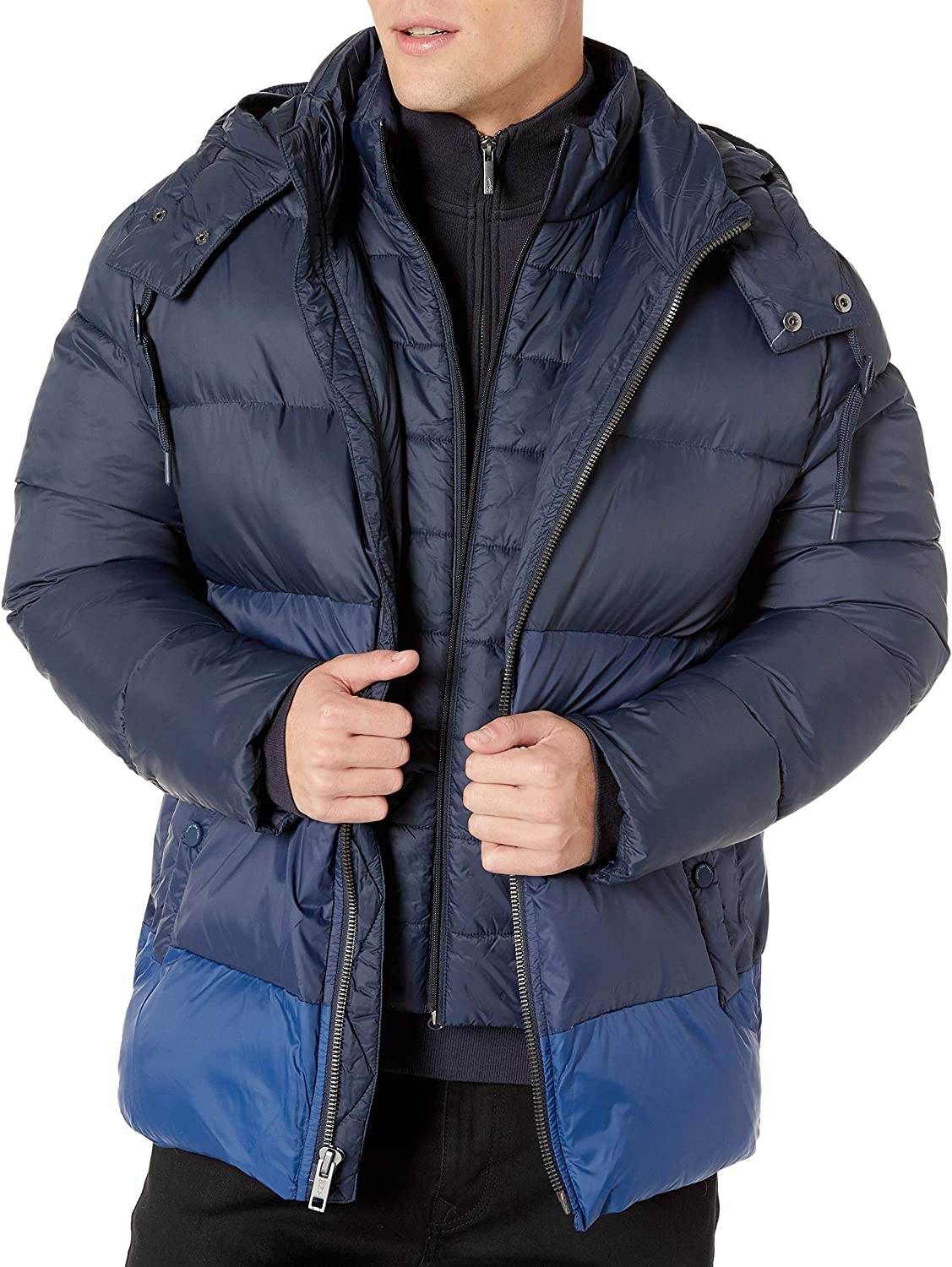 Marc New York by Andrew Marc Mens Dovers Mid Length Down Jacket with Removable Hood