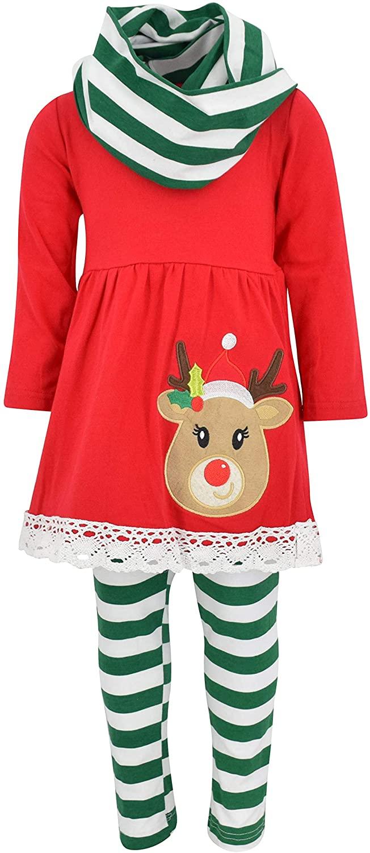 Unique Baby Girls 3 Piece Striped Rudolph Christmas Legging Set Green