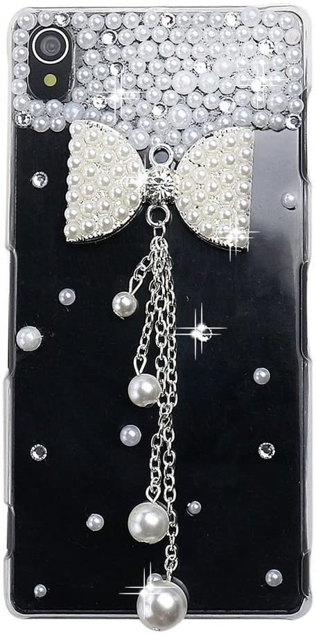 STENES Sony Xperia C4 Case, Luxurious Crystal 3D Handmade Sparkle Diamond Rhinestone Clear Cover With Retro Bowknot Anti Dust Plug - Pearl Bowknot Pearl Pendant/White