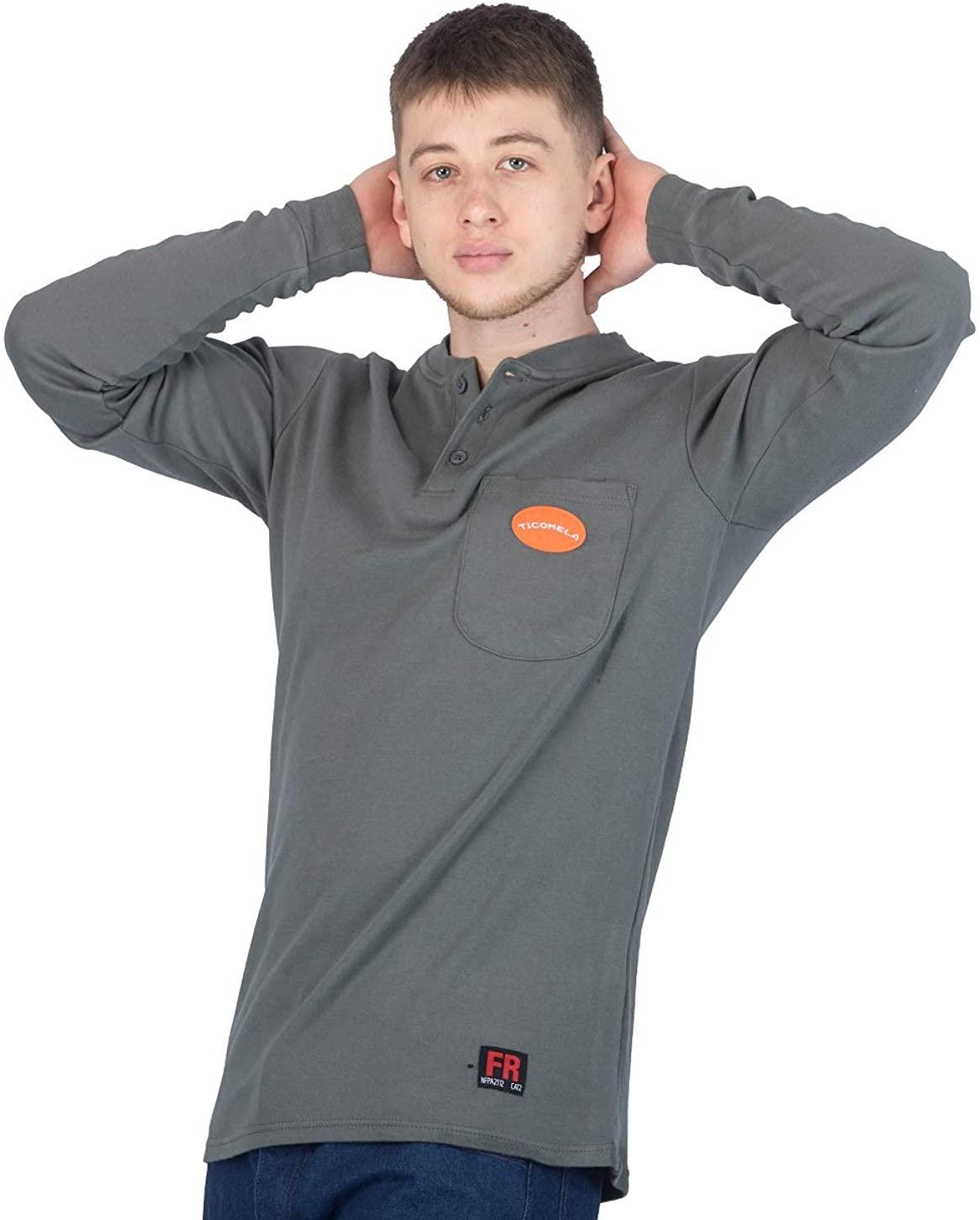 TICOMELA FR Shirts for Men Flame Resistant Shirt NFPA2112 7oz Light Weight Work Mens Long Sleeve Henley Shirts