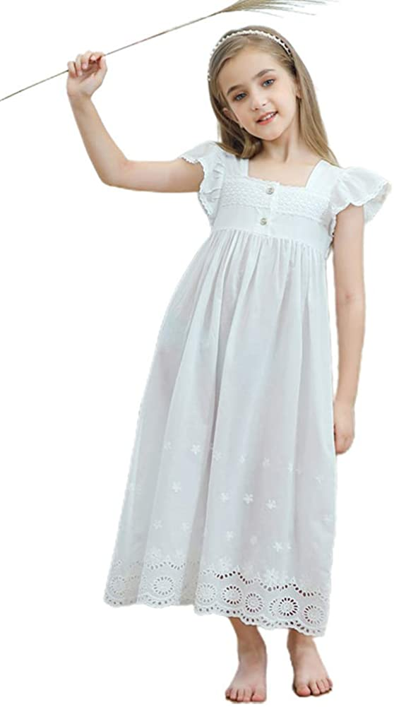 BLOSSOMLIFE Kids Girls Embroidered Lace Cotton Princess Nightgowns Sleepwear Dress Casual Toddler Girl White Dress