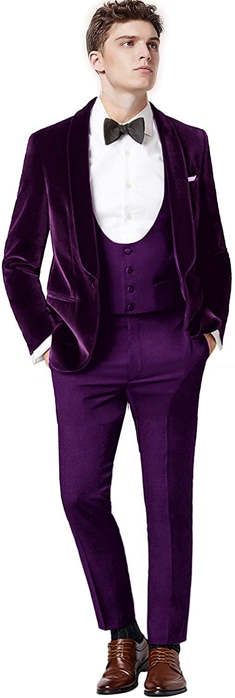 Setwell Men's 3 Pieces Tuxedo for Wedding Velvet Jacket Slim Fit Suits Evening Blazer