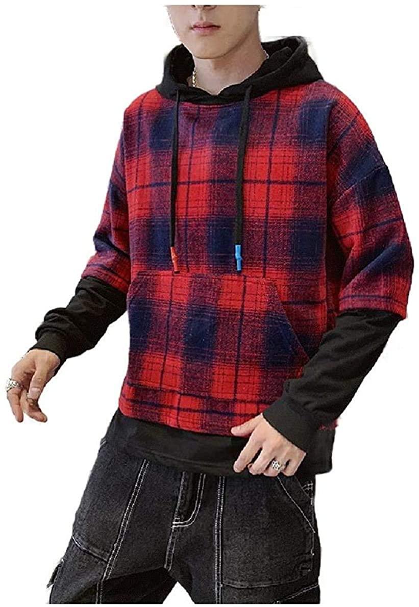 Men Shirt Classic Plaid Hoode Oversized Relaxed Parka Jackets