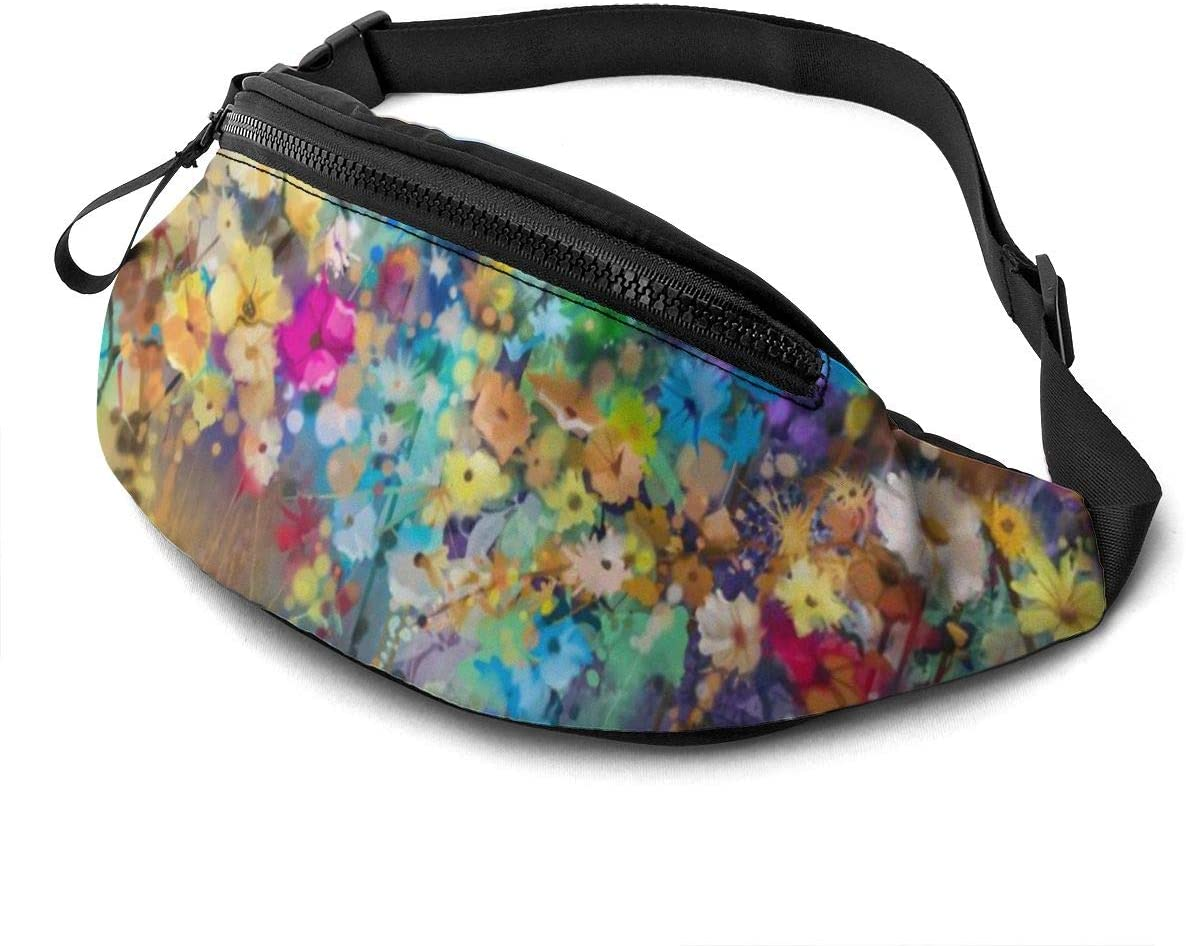 Herbs Weeds Blossoms Ivy with Florets Shrubs Fanny Pack for Men Women Waist Pack Bag with Headphone Jack and Zipper Pockets Adjustable Straps