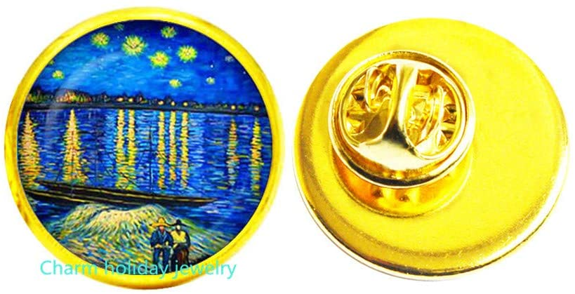 Charm holiday jewelry The Starry Night Moon,Van Gogh Brooch,Starry Night Pin,Van Gogh Pin,Moon Brooch,Moon Pin,Pin-#177