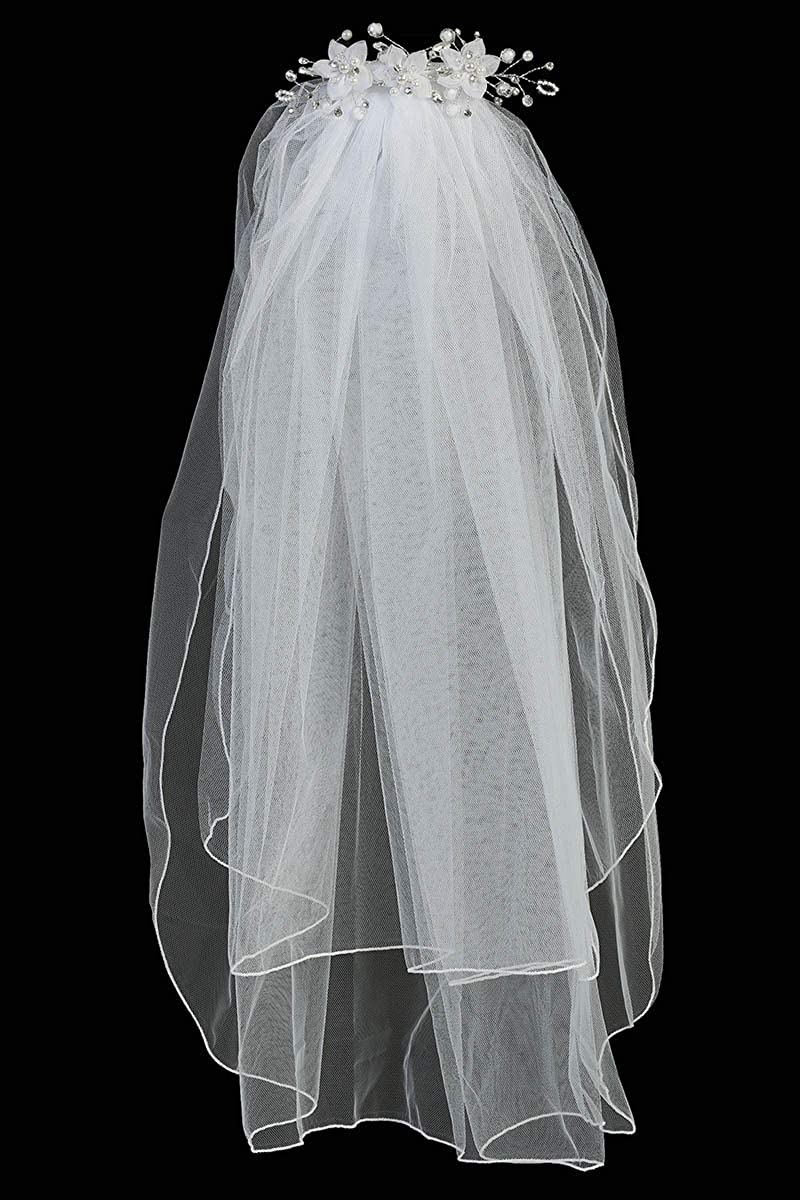 Swea Pea & Lilli Girls First Communion Veil - White Holy 1st Communion Headpiece with Comb, Organza Flowers with Pearl Centers, and Iridescent Crystal Accents