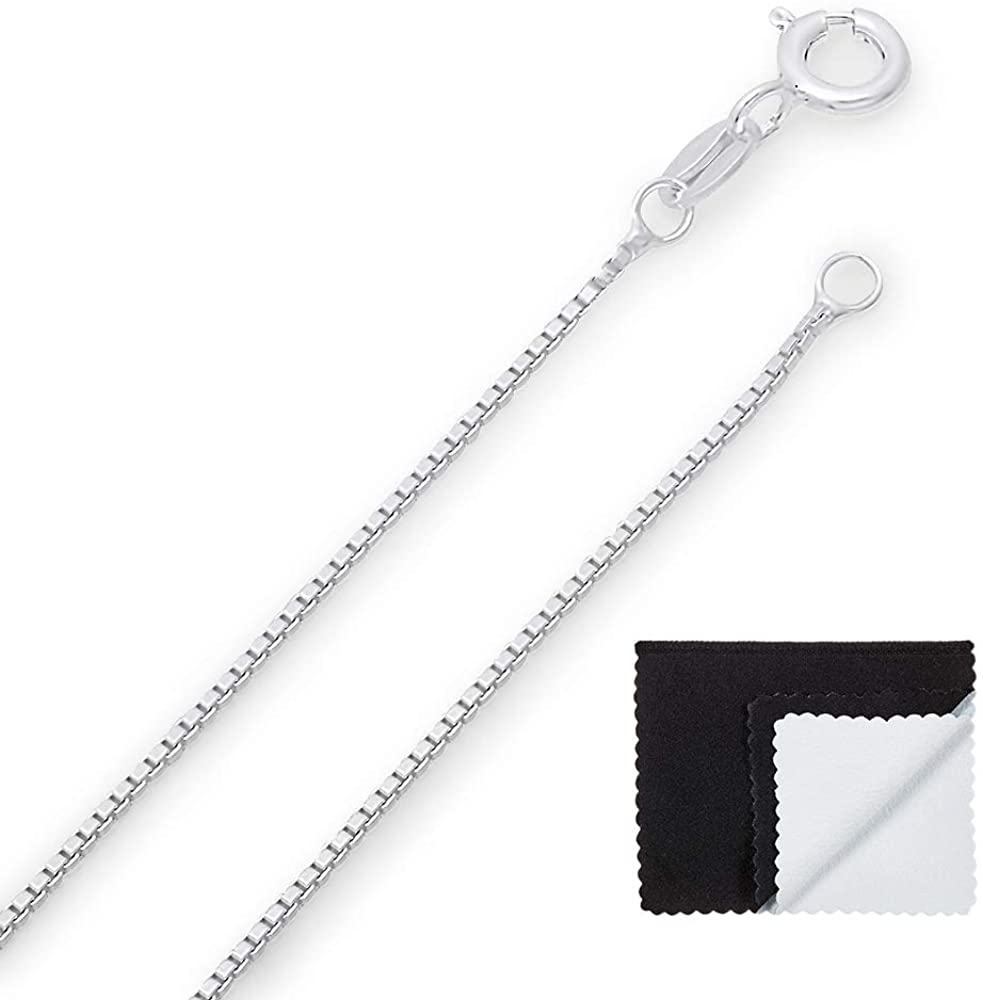 1mm High-Polished .925 Sterling Silver Square Box Choker Chain Necklace, 18 inches + Jewelry Cloth & Pouch