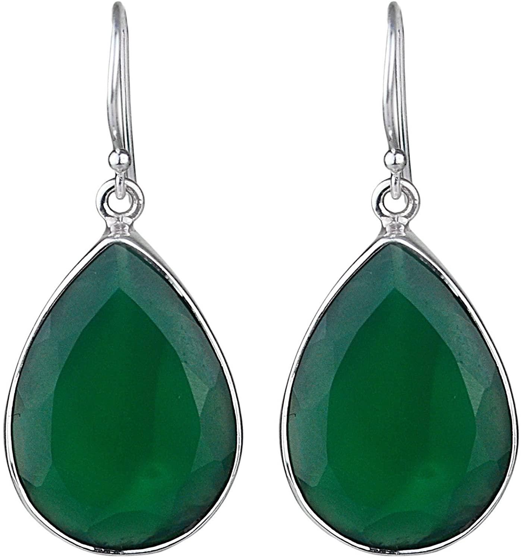 CCI 925 Sterling Silver Green Onyx Gemstone Dangle Earrings Jewelry 7.63g