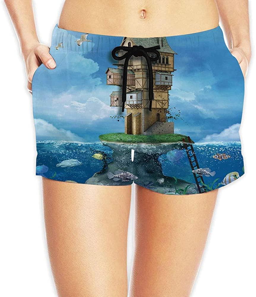 C COABALLA Women's Cartoon,Charismatic Print Summer Beach Shorts No-33825