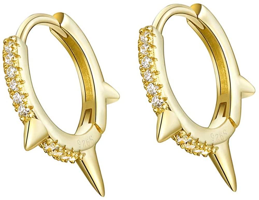 Gold Punk Spikes Stud CZ Hoop Earrings for Women Teen Girls Men S925 Sterling Silver Charms Huggie Hoops Cartilage Stud Tragus Helix Pave Crystal Earrings Hypoallergenic Rock Fashion Jewelry 9mm