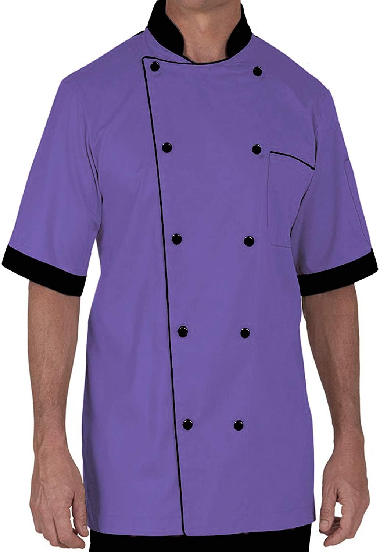 Chef Coat Half Sleeve Lightweight Uniform Purple Medium