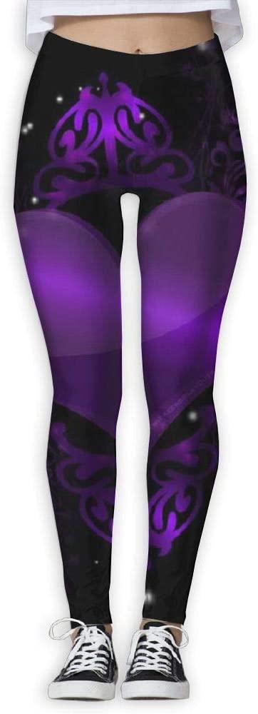 PIOL Womans Purple Love High Waist Skinny Leggings Yoga Jogger Sweatpants
