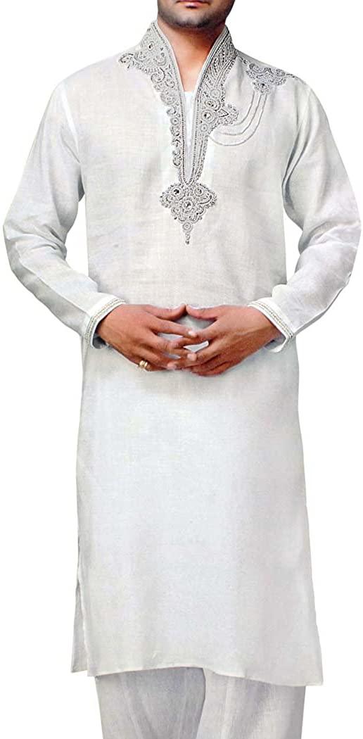 INMONARCH Mens White Indian Kurta Linen Kurta Pyjama Hand Embroidery Sherwani KP1520