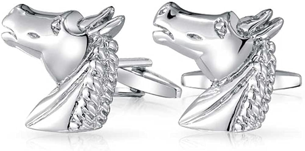 Bling Jewelry Thoroughbred Horse Head Equestrian Cowgirl Shirt Cufflinks for Men Silver Tone Brass Steel Hinge Back