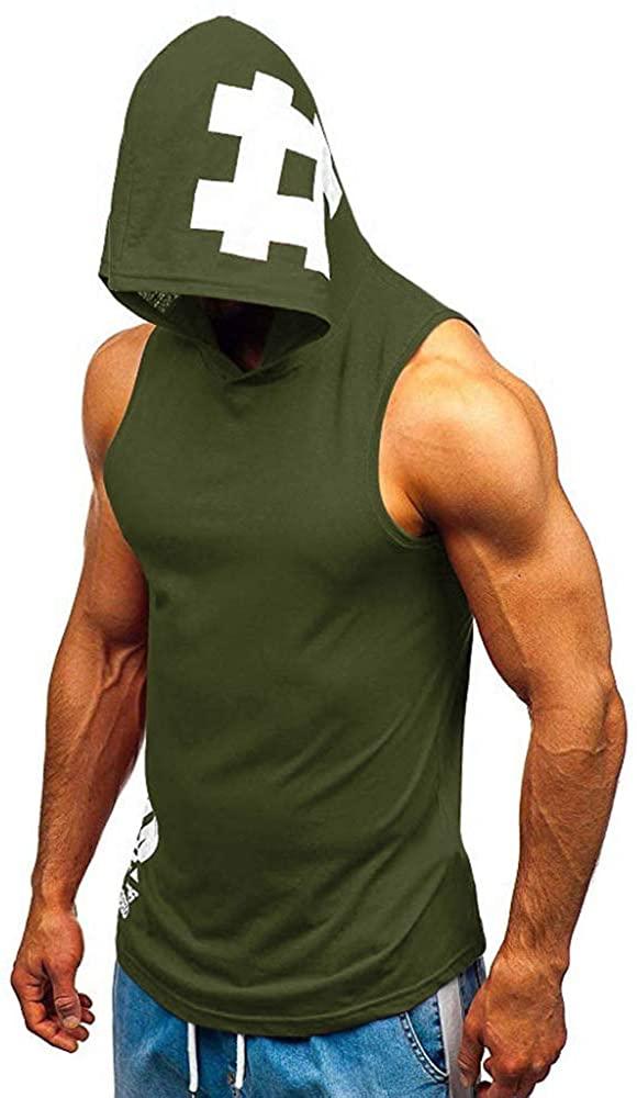 HOSD2020 New Men's Sleeveless Printed Fitness Sports Drawstring Hooded Vest top Green