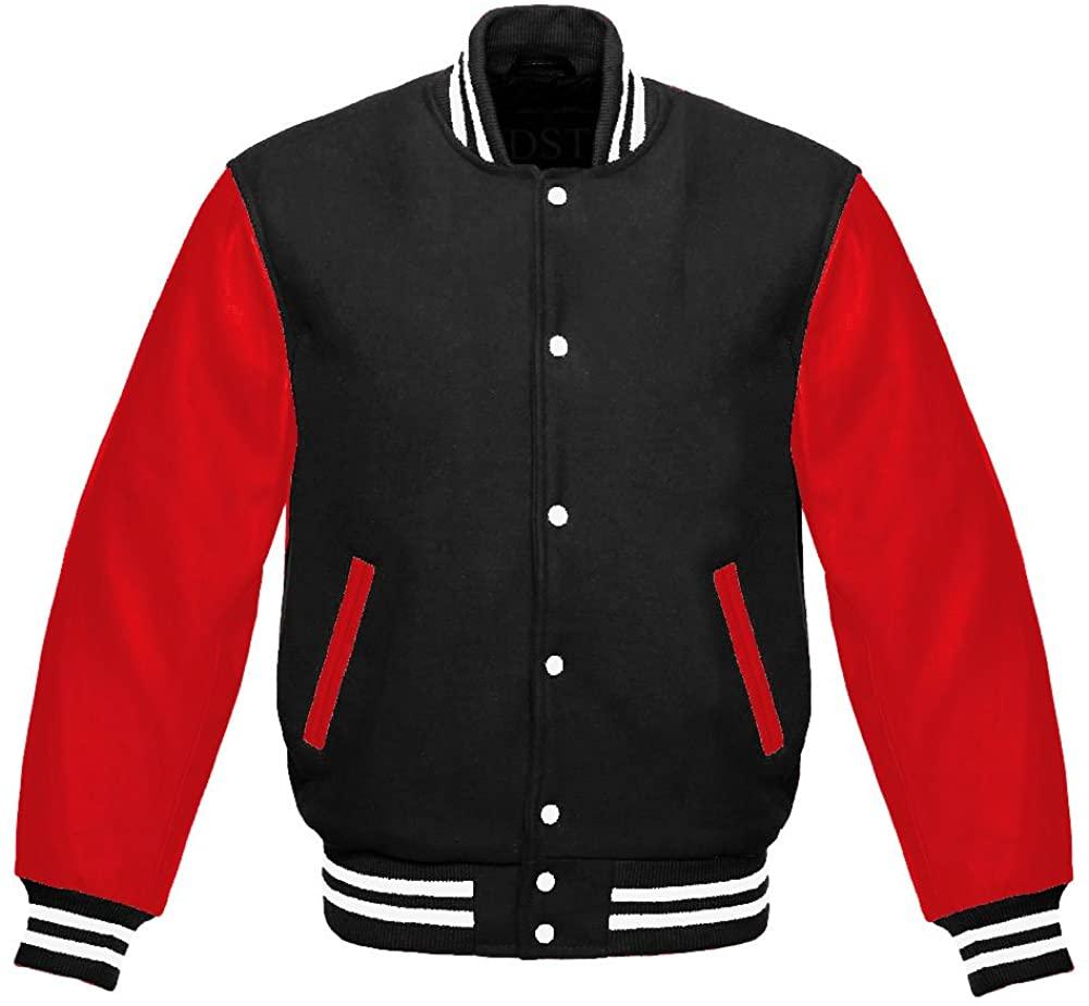 Letterman Varsity Jacket Red Leather Sleeves/Black (YM)