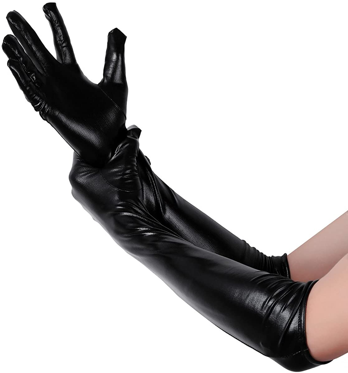 MSemis Adult Sexy Wetlook Black Leather Long Gloves Club Party Costume Outfits