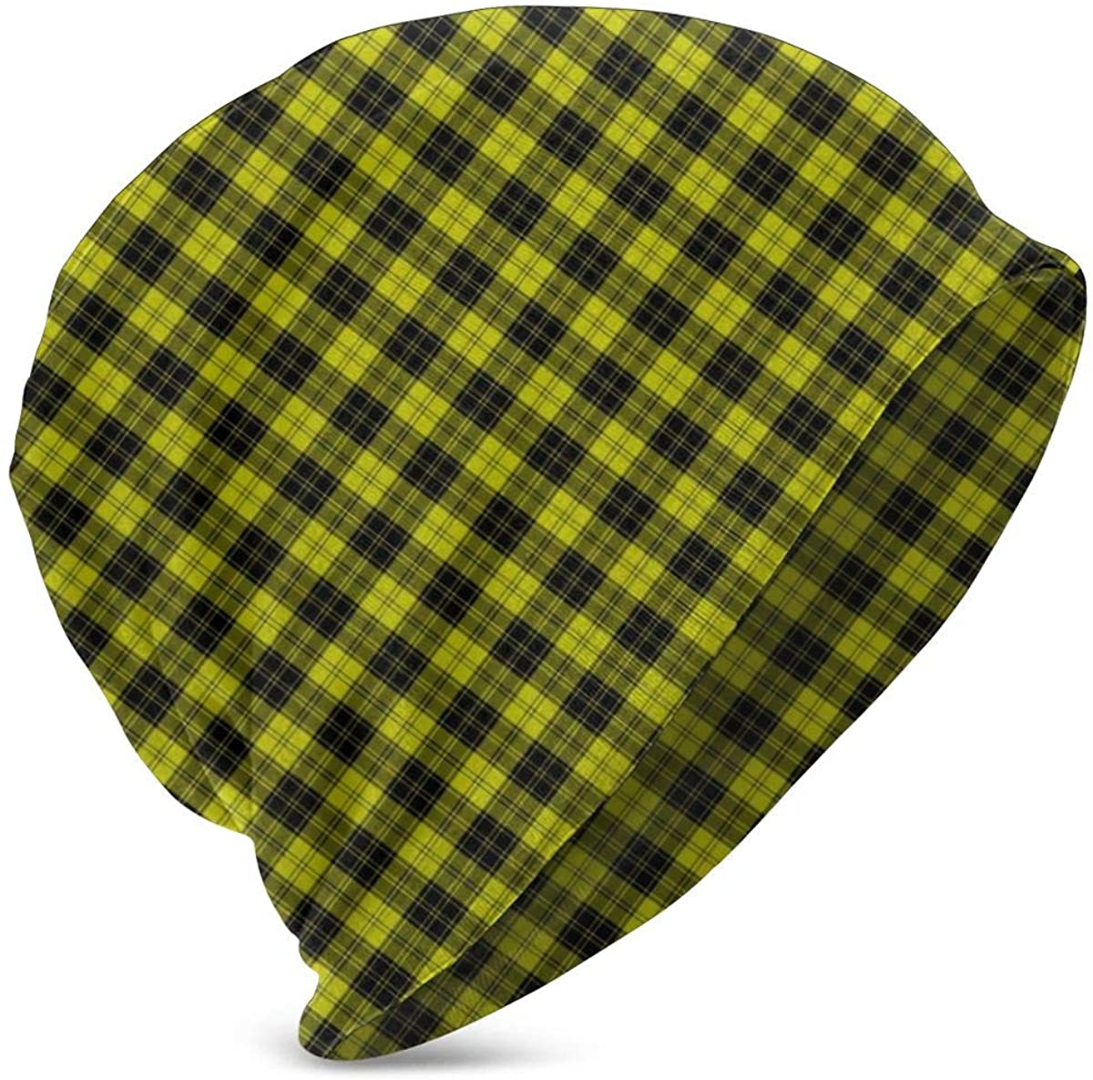 Yellow Black Tartan Plaid Kids Warm Winter Hat Knit Beanie Skull Cap