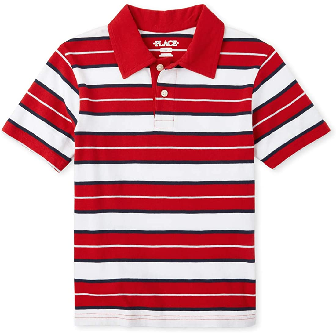 The Children's Place Boys' Big Short Sleeve Polo Striped Shirt