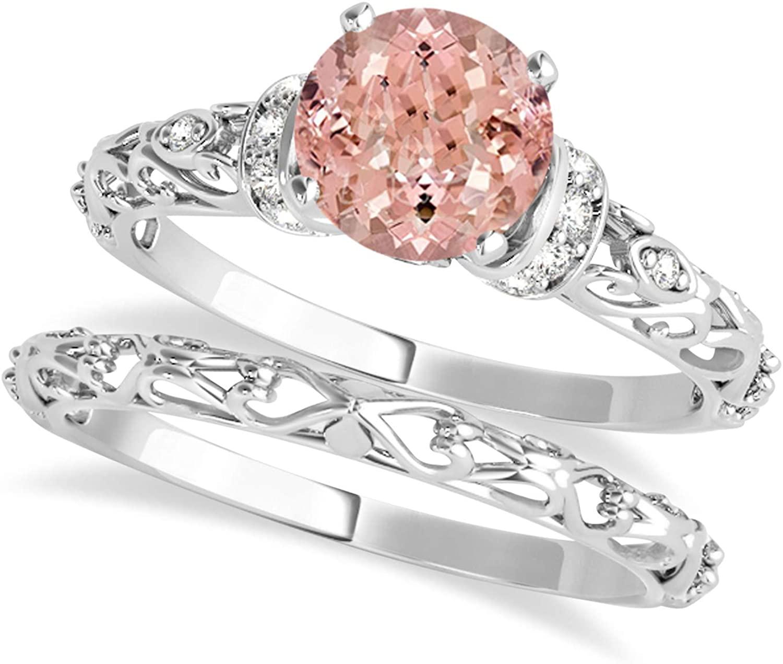 (1.12ct) Platinum Morganite and Diamond Antique-Style Bridal Set