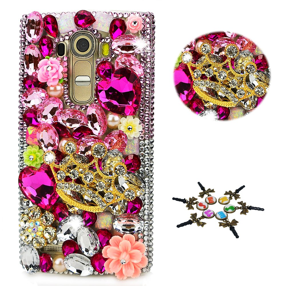 STENES LG Aristo 2 Case - STYLISH - 100+ Bling - 3D Handmade Big Crown Sexy Flowers Design Protective Case For LG Aristo 2 - Pink