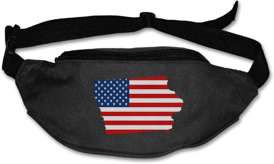 Eden Edies Iowa State Map Shape The USA Flag Unisex Waist Pack Bag Belt