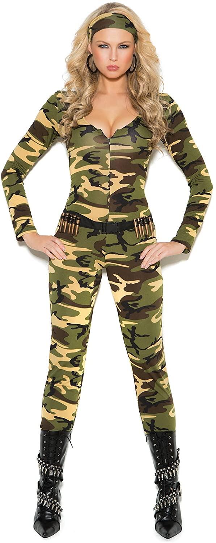 Combat Warrior Costume Long Sleeve Zip Front Jumpsuit, Bullets Belt, Head Scarf