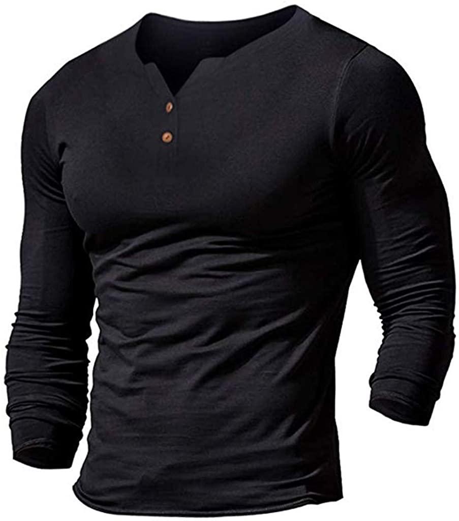 FiMi Mens Summer Casual Short Sleeve Henleys T-Shirt Single Button Placket Plain v Neck Shirts