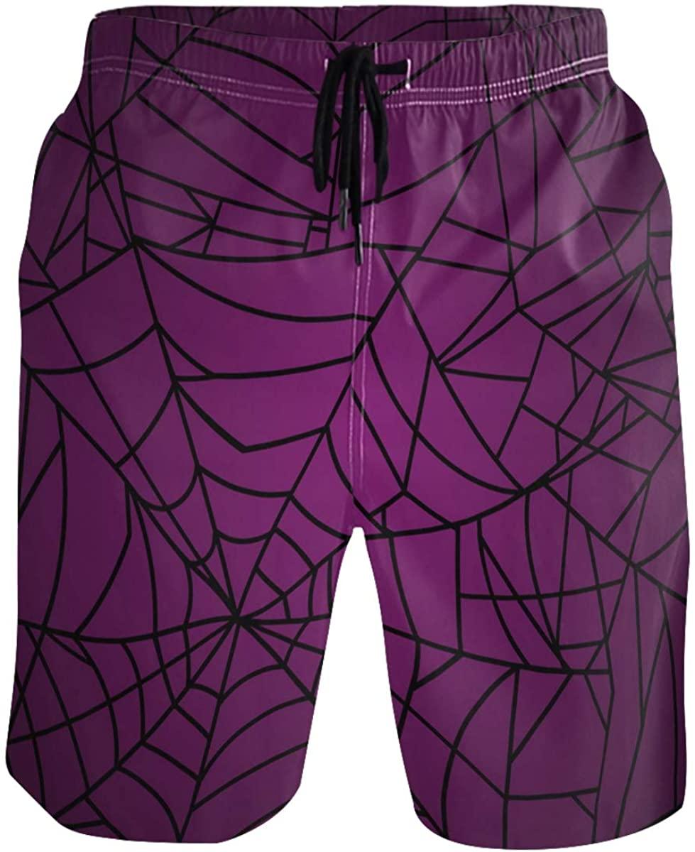 RunningBear Men's Swim Trunks - Spider Web Halloween Beach Short Men Quick Dry Bathing Suit Shorts