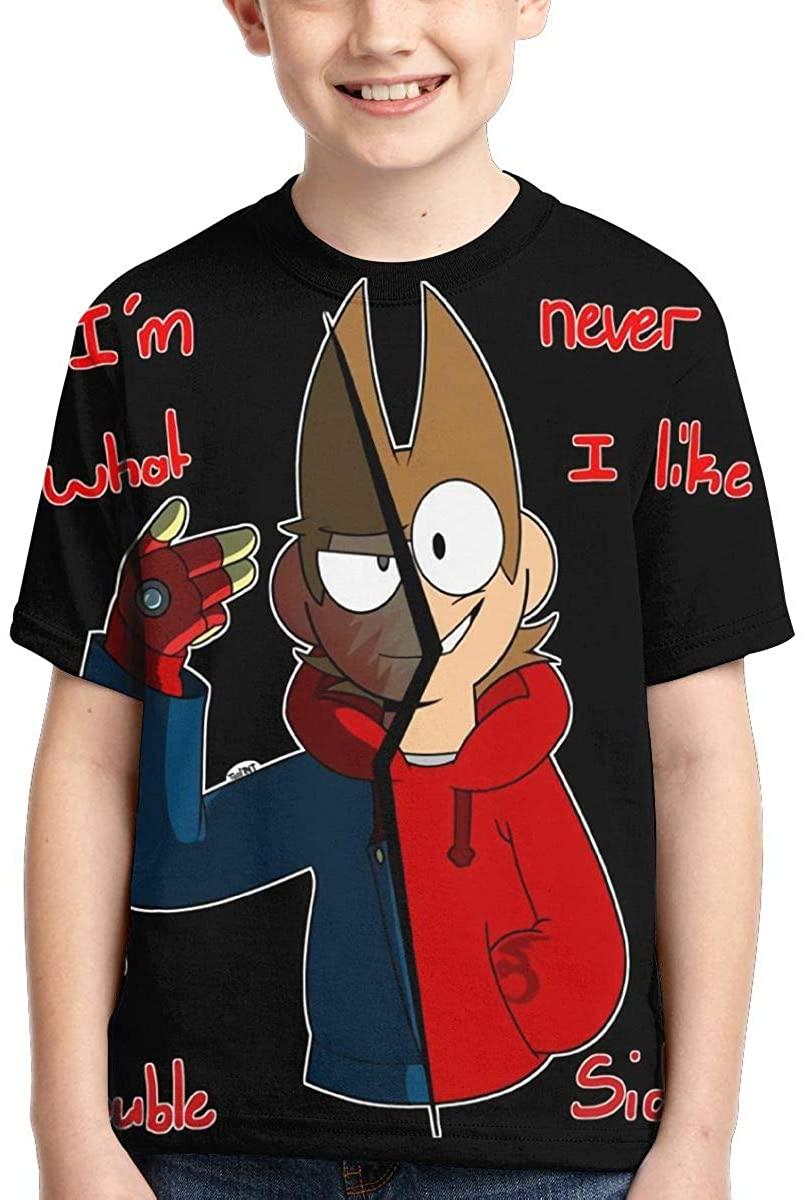 Eddsworld 3D Print Boys' T-Shirts Teen Sport Cool Short Sleeve Tops XL