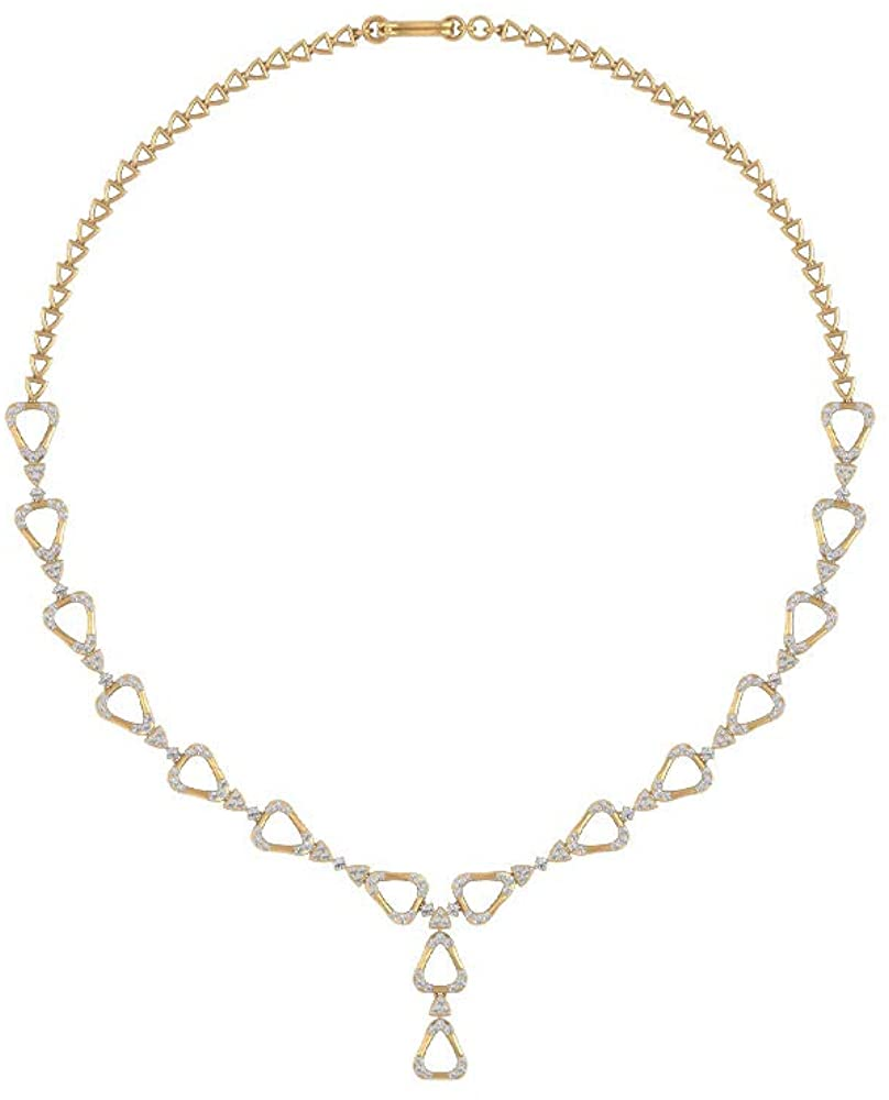2.99 CT Round Certified Diamond Triangle Cluster Bridal Necklace, Unique Diamond Cluster Wedding Statement Necklace, Gold Engraved Charm Pendant Gifts