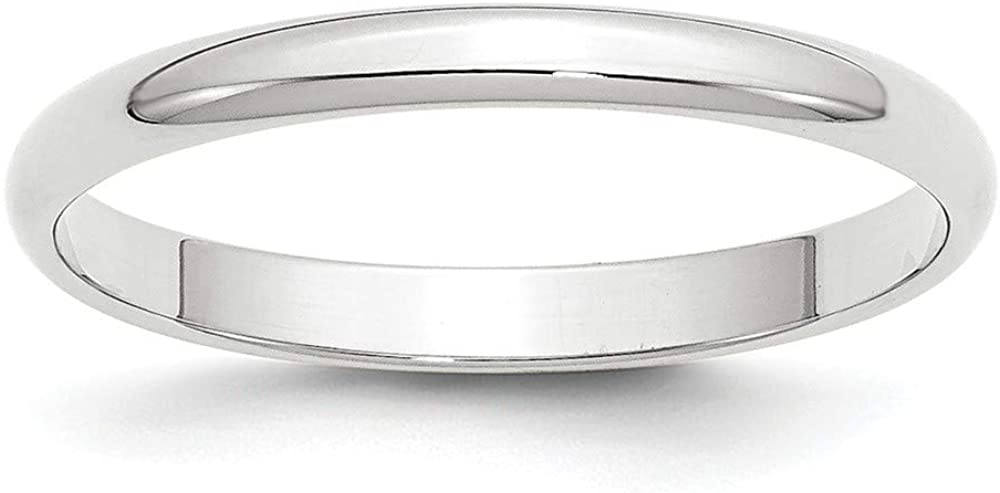 10k White Gold 2.5mm Plain Classic Dome Wedding Band Ring