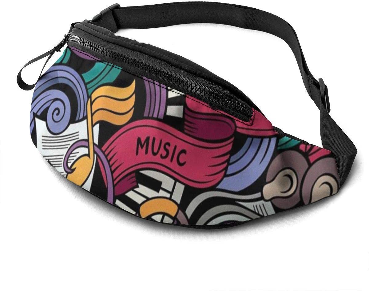 Music Themed Fanny Pack for Men Women Waist Pack Bag with Headphone Jack and Zipper Pockets Adjustable Straps