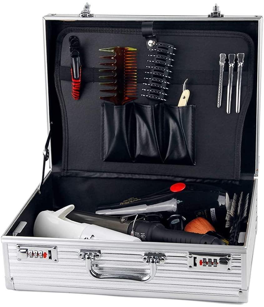 SSLW Barber Storage Suitcase Aluminium Flight Case Toolbox Organiser Lockable Storage Box 2 Combination Locks