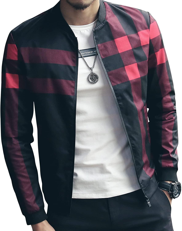 LOGEEYAR Men's Bomber Jacket Casual Slim Fit Printed Outerwear Coat
