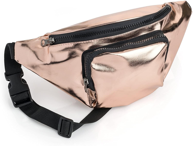 Metallic Rose Gold Fabric Waist Bag Fanny Pack Money Bum Bag Hip Belt