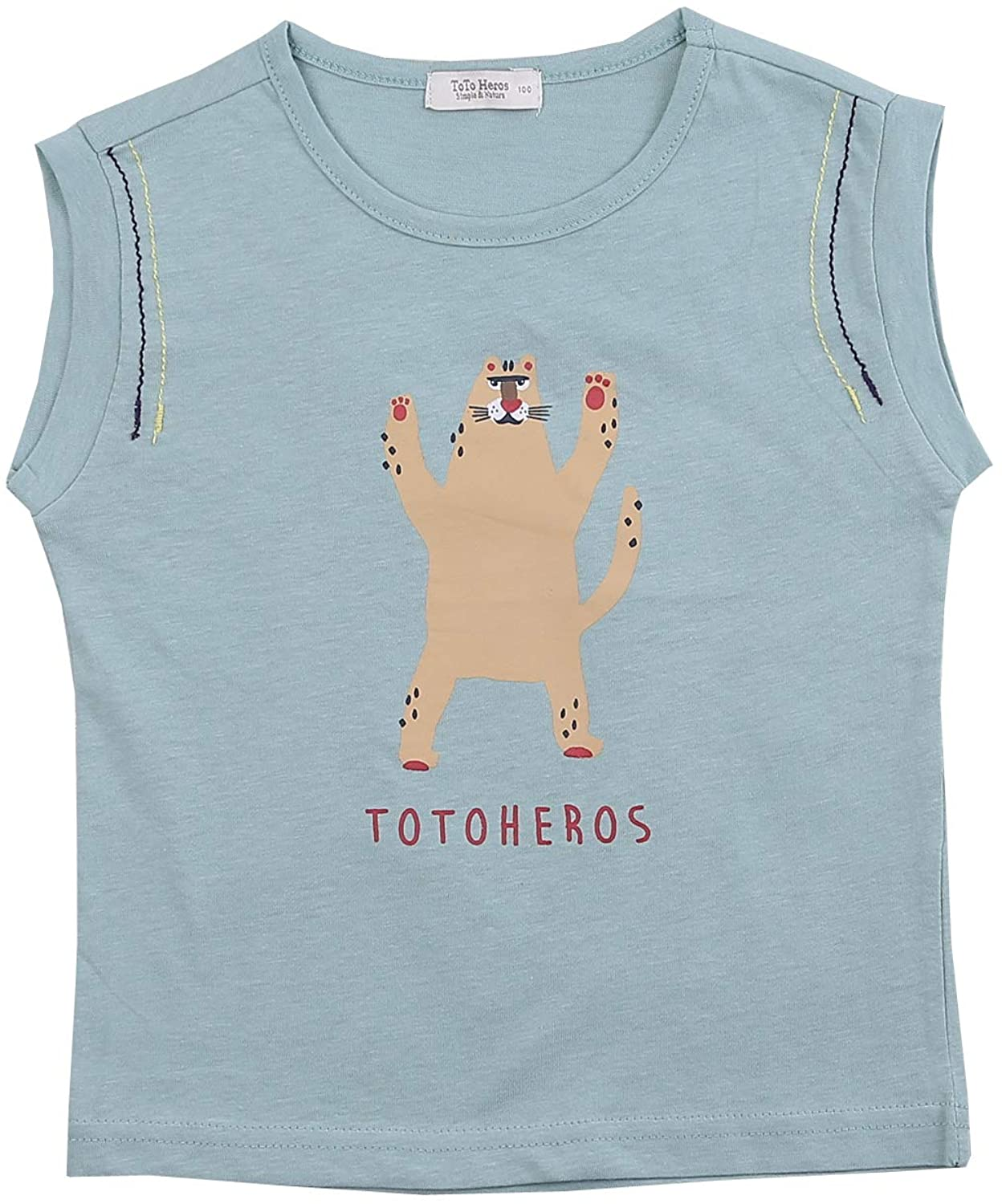 TOTO HEROS Boys Tiger Sleeveless Shirt Everyday Casual T Shirt Tee Fun T-Shirt 100% Cotton Relaxed fit