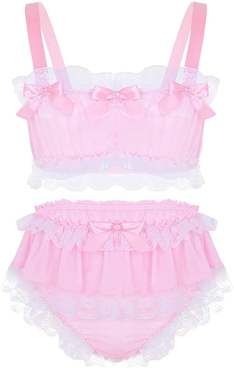 YOOJIA 2Pcs Men's Sissy Lingerie Set Lace Ruffled Frilly Satin Sleeveless Crop Top Skirted Panties